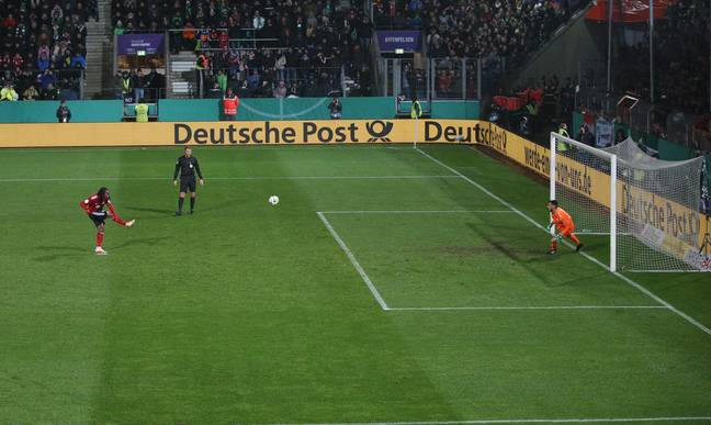 Goalkeeper moves off his line as the ball is struck. Image: PA Images