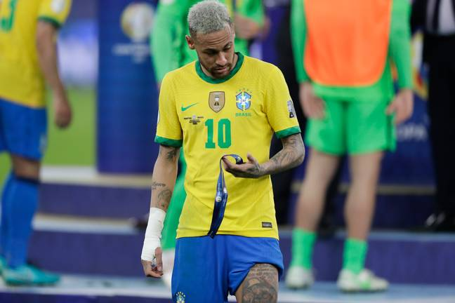 Neymar with his runners up medal. Image: PA Images