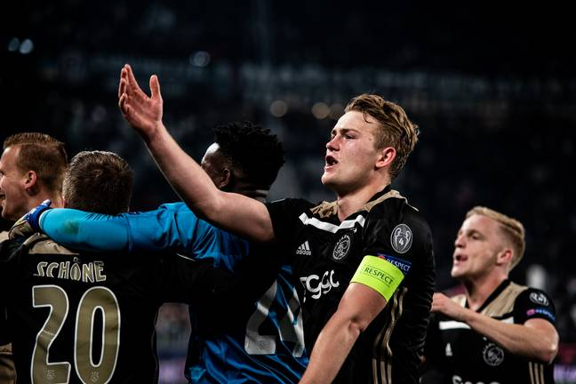 Former Ajax captain Matthijs de Ligt celebrates their victory over Juventus. Image Credit: PA