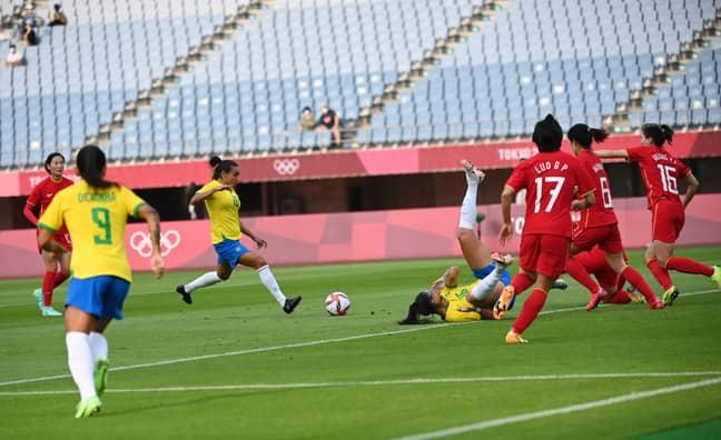 Marta scores against China. Image: PA Images