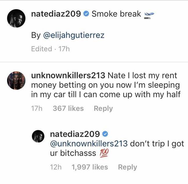 Betting his rent money didn't work out for one Diaz fan. Image: Instagram