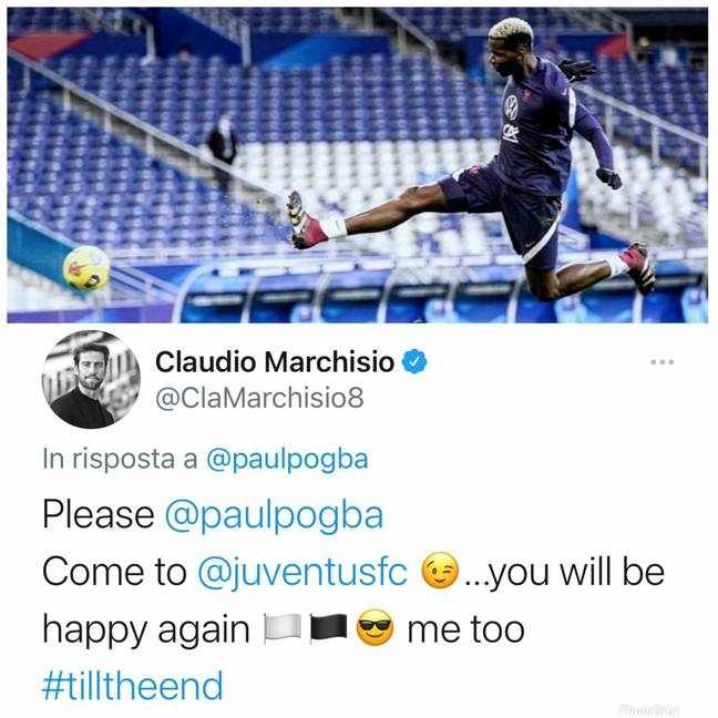 Marchisio's reply. Image: Instagram