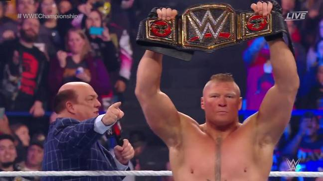 Lesnar with manager Paul Heyman. (Image Credit: WWE Network)