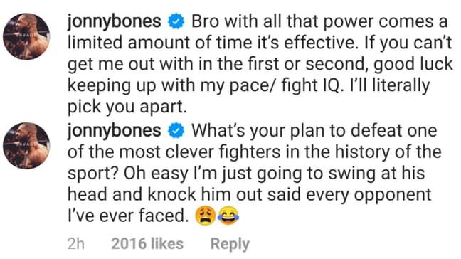 Jones comments on Ngannou's post. Image: Instagram/Chamatkar Sandhu
