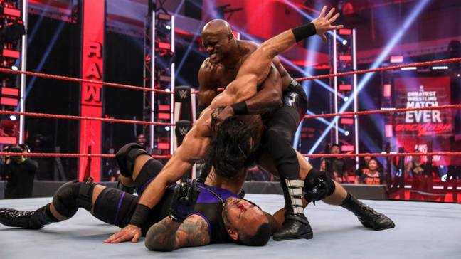 Lashley attacks McIntyre after the Scotsman defeated MVP on Monday's Raw. (Image Credit: WWE)