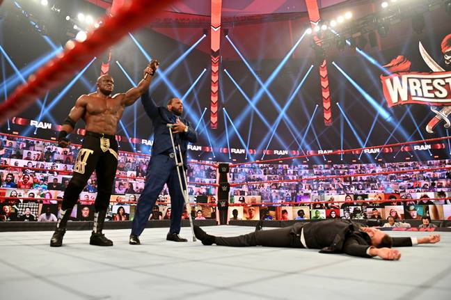 Lashley and MVP stand tall over The Miz. (Image Credit: WWE)
