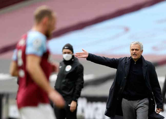 Mourinho shouts instructions during his side's defeat. Image: PA Images