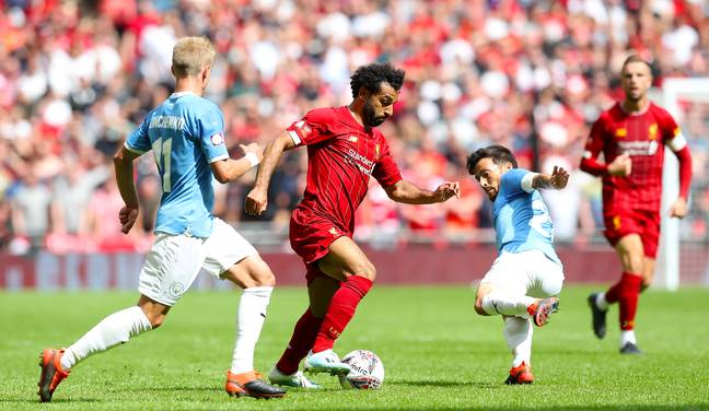 Mo Salah in action for Liverpool against Manchester City in the Community Shield