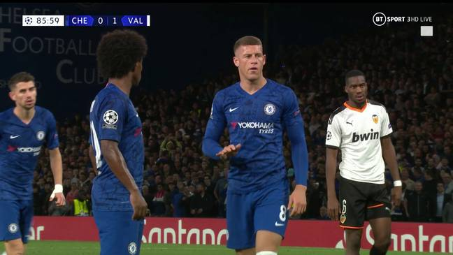 Ross Barkley told Willian to relax before blazing the penalty over the bar