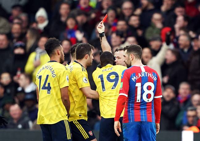 Pierre-Emerick Aubameyang sees red against Crystal Palace. Image: PA Images