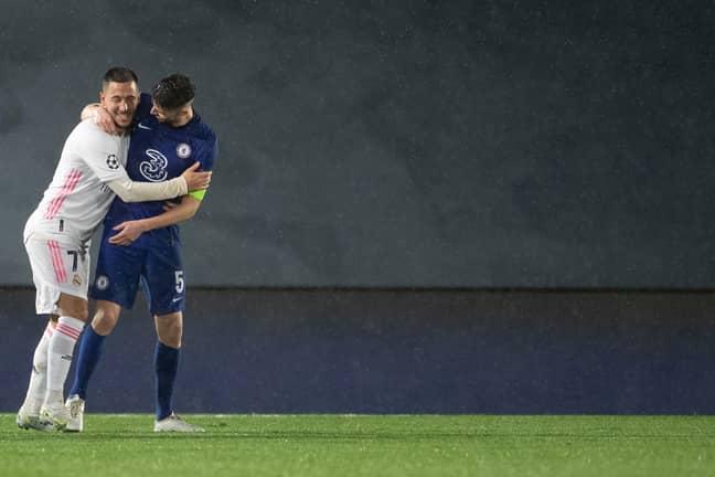 Hazard hugs his former teammate Jorginho. Image: PA Images