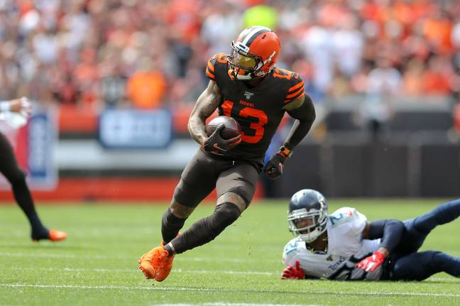 The Cleveland Browns wide receiver also wore some striking orange Nike Vapor Yeezy cleats