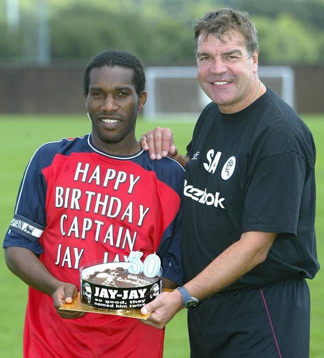 Big Sam with Jay-Jay Okocha. Image: PA Images