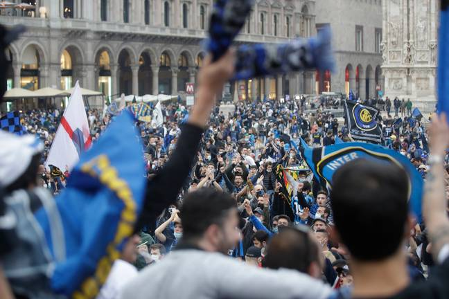 Inter fans celebrate their title. Image: PA Images