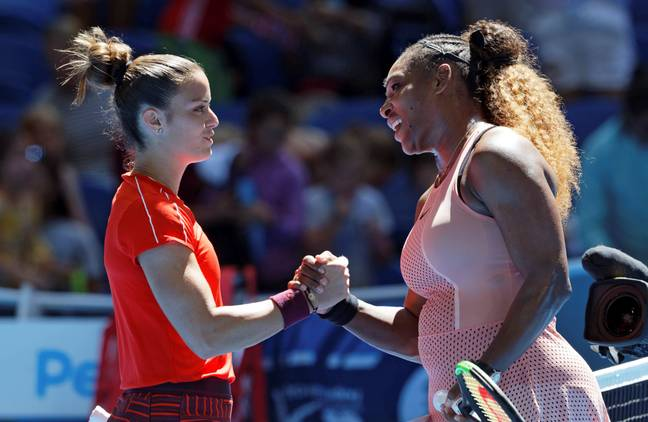 Serena Williams shakes hands with Maria Sakkari of Greece after winning their match at the Hopman Cup. Credit: PA