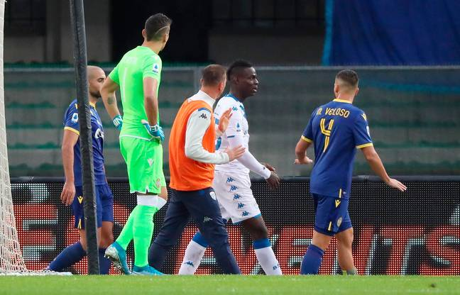 Balotelli reacts to racist abuse from Verona fans. Image: PA Images