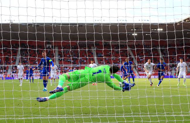 Henderson's penalty is saved. Image: PA Images