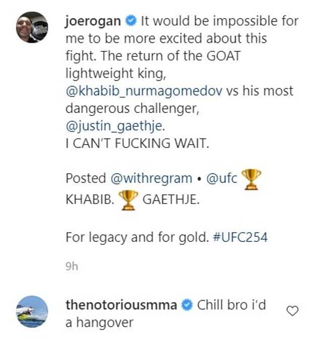 McGregor's excuse on Instagram. Image: Instagram