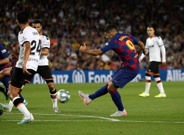 Luis Suarez scored a second-half double in a 5-2 thrashing for Barcelona
