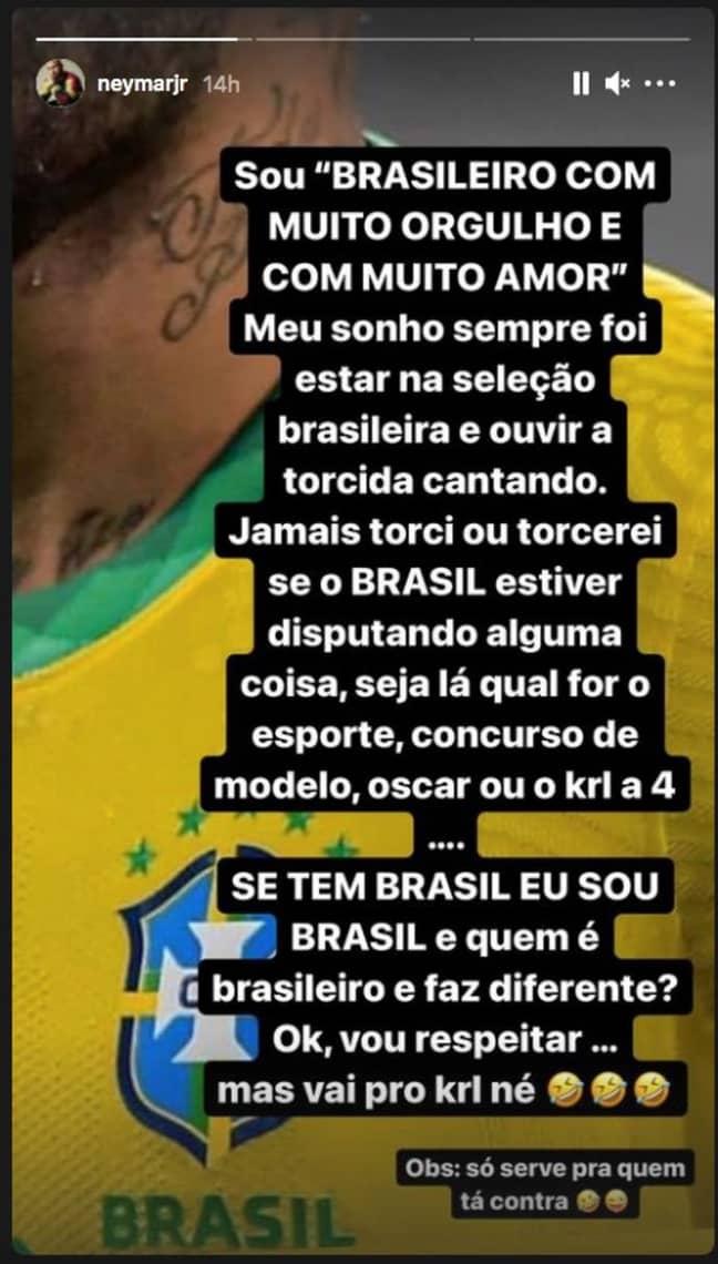 Neymar's social media post. Image: Instagram