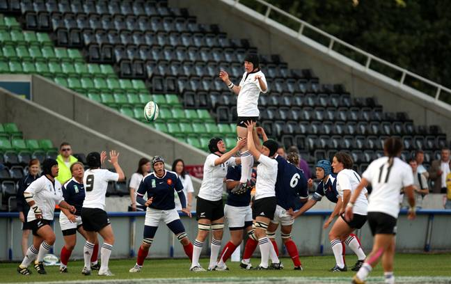 New Zealand win a line out against France in the Women's Rugby World Cup Semi-Final. Credit: PA