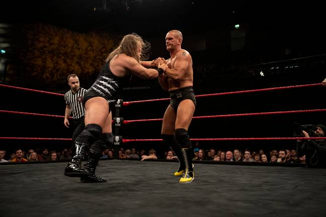 Danny Burch in action against Pete Dunne. (Image Credit: WWE)