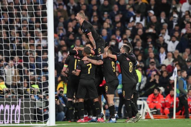 City players celebrate De Bruyne's winner. Image: PA Images