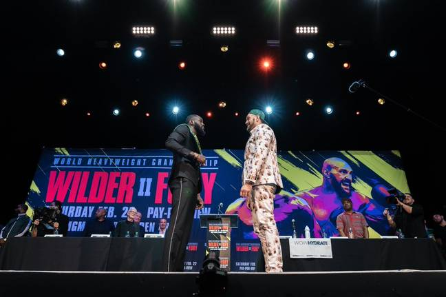Fury squared off with rival Deontay Wilder last night ahead of their fight next month.