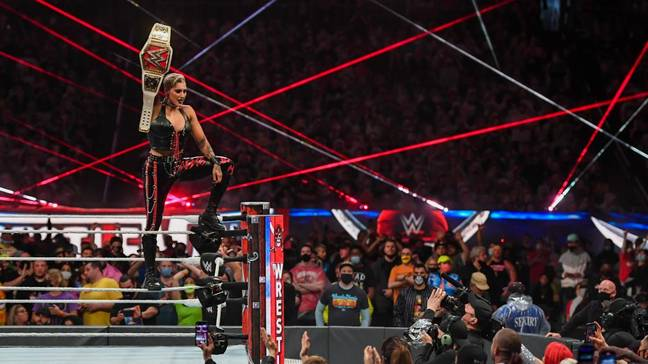 Ripley with her newly won title at WrestleMania. Image: WWE