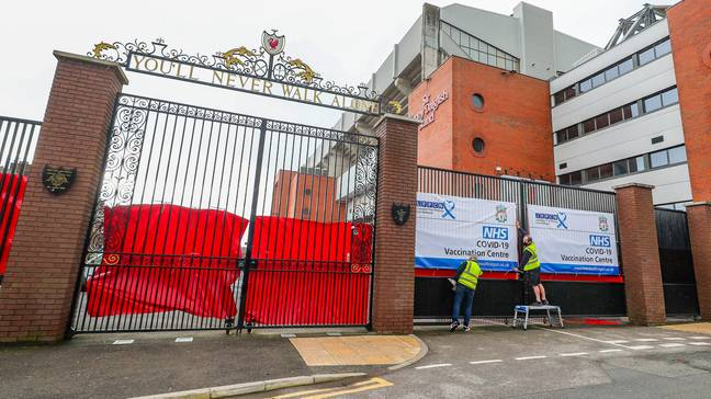 Anfield was being used as a vaccination centre. Image: PA Image