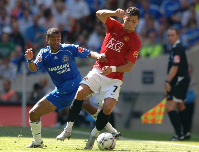 Ronaldo and Cole during a game in 2007. (Image Credit: PA)
