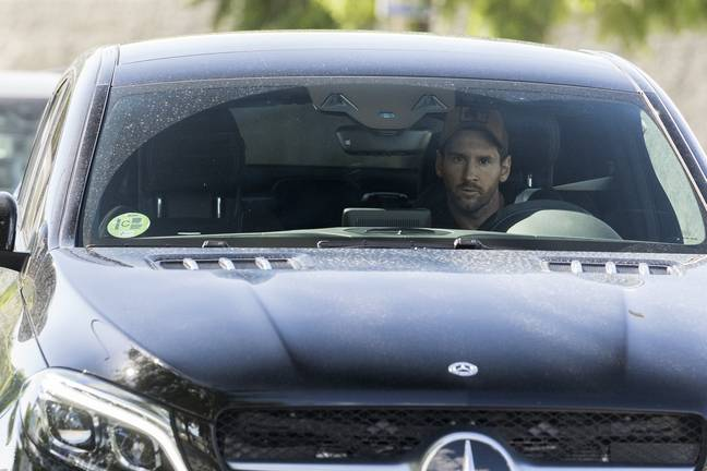 Messi arriving to training on Tuesday. Image: PA Images