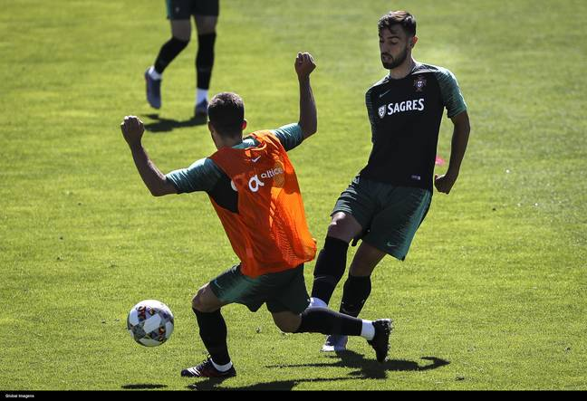 Neves and Fernandes in training for Portugal together. Image: PA Images