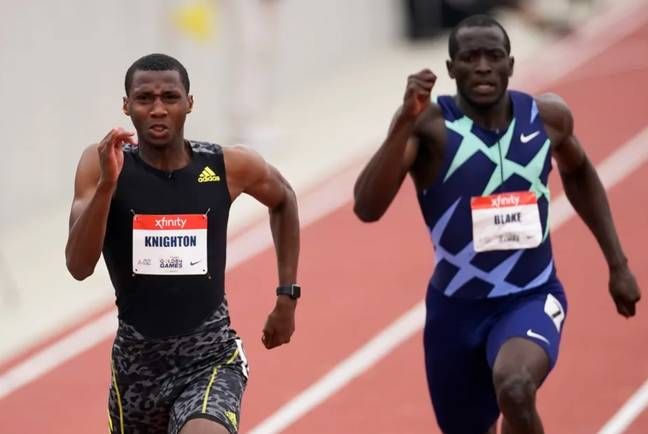 Erriyon Knighton, left, broke a junior record in the 200m that had been set by Usain Bolt in 2003