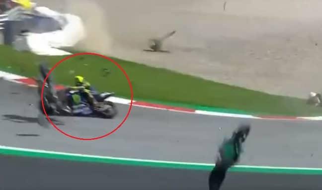 The next bike also missed him. Credit: BT Sport