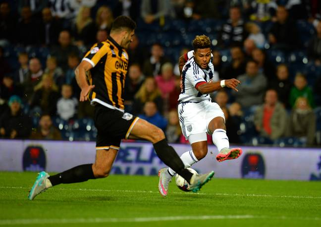Gnabry during one of three appearances in all competitions for West Brom. Image: PA Images