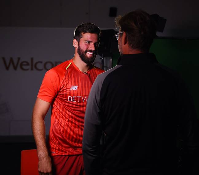 Alisson meets Klopp. Image: Liverpool FC