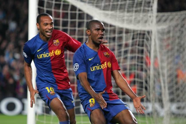 Eto'o celebrates scoring at Camp Nou. Image: PA