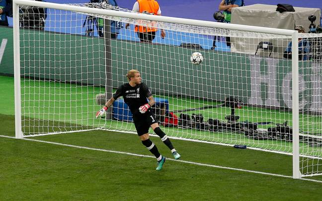 Karius painfully looks at the ball. Image: PA