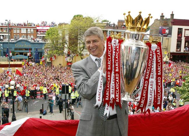 Wenger with his last Premier League trophy, won with the Invincibles. Image: PA Images