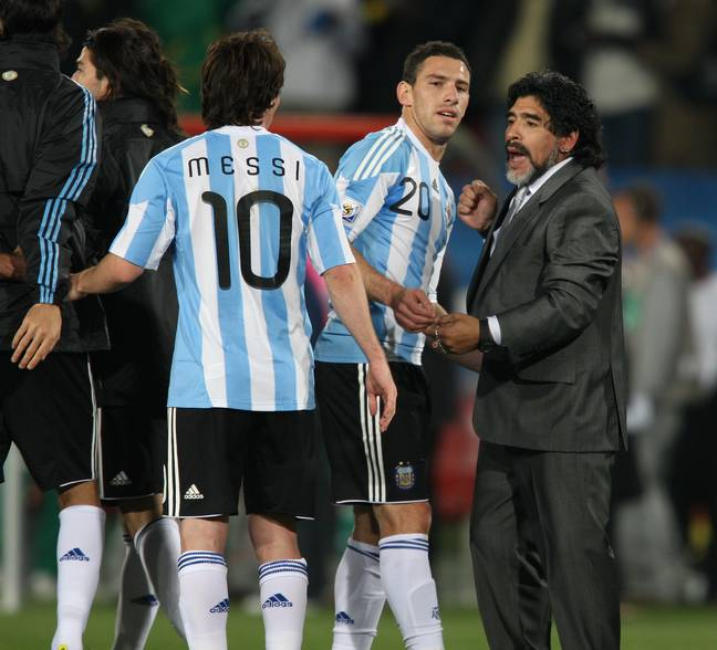 Maradona managed Messi at the 2010 World Cup. Image: PA Images