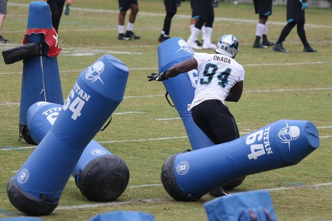 Efe Obada puts the work in during a Carolina Panthers practice session