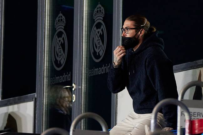 Ramos watching on from the stands. Image: PA Images