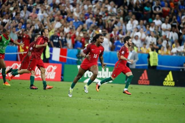 Sanches celebrates winning the Euro's. Image: PA
