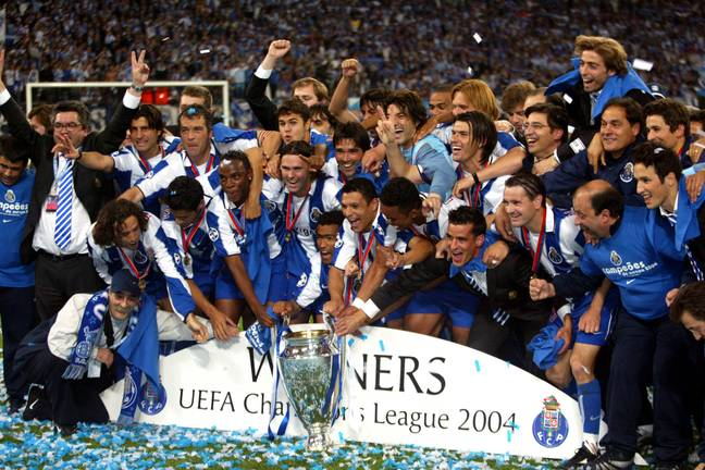 Porto celebrate their surprise Champions League victory in 2004. Image: PA Images