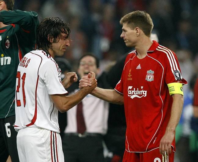 Gerrard and Pirlo met in two Champions League finals, the Euro 2012 quarter final and in the MLS. Image: PA Images