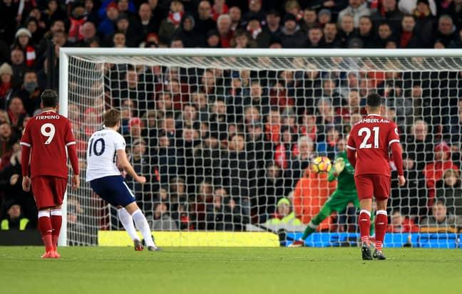 Kane's penalty is saved by Karius. Image: PA