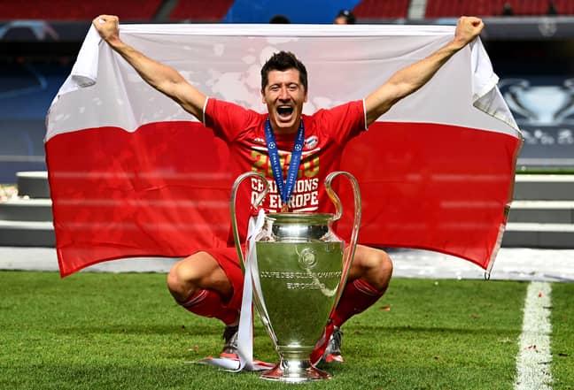 Lewandowski with the Champions League trophy. Image: PA Images