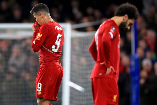 Firmino and Salah after the loss to Chelsea. Image: PA Images