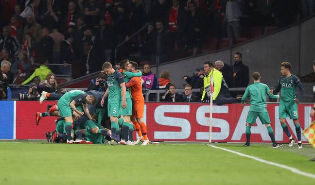 Spurs celebrate their incredible comeback against Ajax to make it to the final. Image: PA Images